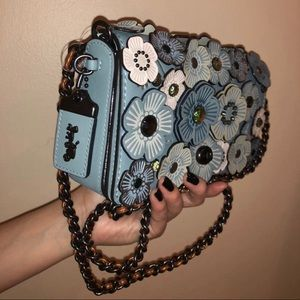 Sky Blue Coach Floral Crossbody